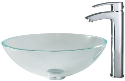 Kraus Crystal Series CGV10012MM1810CH - Crystal Clear Glass Sink with Visio Faucet