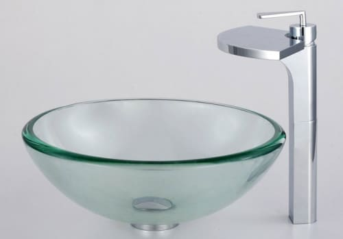 Kraus Fantasia Series CGV10119MM14800CH - Clear Glass Vessel Sink and Fantasia Faucet
