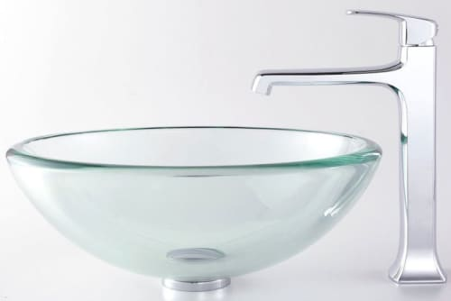 Kraus Decorum Series CGV10119MM15200CH - Glass Vessel Sink with Decorum Faucet