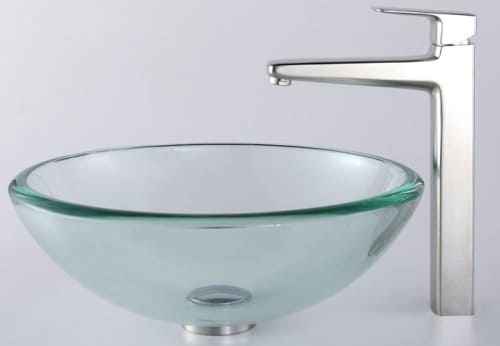 Kraus Virtus Series CGV10119MM15500BN - Glass Sink Combo