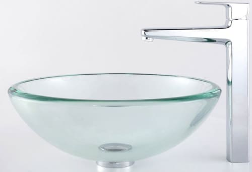 Kraus Virtus Series CGV10119MM15500CH - Glass Sink Combo