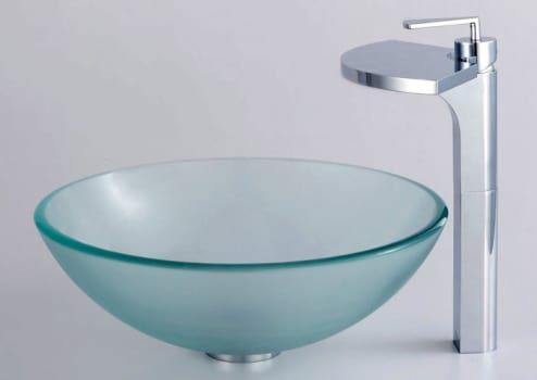 Kraus Fantasia Series CGV101FR12MM14800CH - Frosted Glass Vessel Sink with Fantasia Faucet