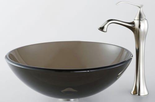 Kraus Ventus Series CGV10312MM15000 - Clear Brown Vessel Sink with Ventus Faucet