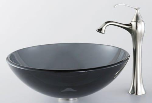 Kraus Ventus Series CGV10412MM15000 - Clear Black Glass Sink with Ventus Faucet
