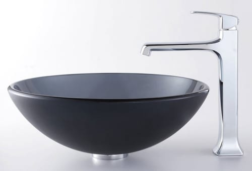 Kraus Decorum Series CGV104FR12MM15200CH - Frosted Black Sink and Decorum Faucet