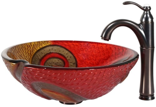 Kraus Copper Series CGV62017MM1005ORB - Copper Snake Glass Vessel Sink and Riviera Faucet