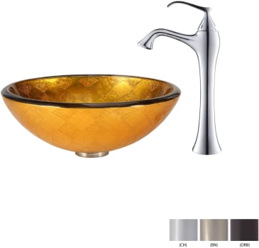Kraus Copper Series CGV69119MM15000BN - Glass Vessel Sink with Chrome Faucet
