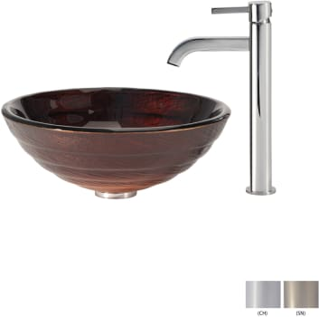 Kraus Copper Series CGV69319MM1007SN - Glass Vessel Sink with Chrome Faucet