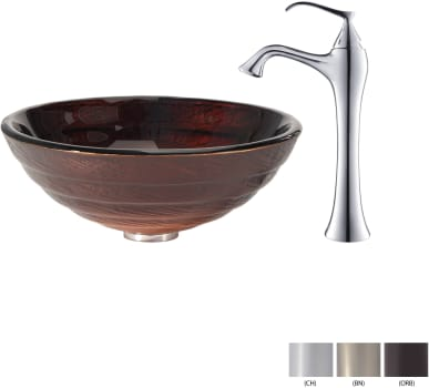 Kraus Copper Series CGV69319MM15000BN - Glass Vessel Sink with Chrome Faucet