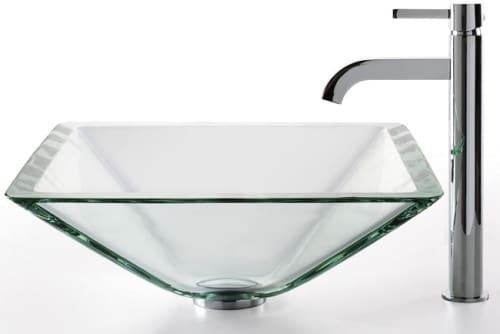 Kraus Cgvs90119mm1007ch 18 Inch Aquamarine Glass Vessel Sink With 6