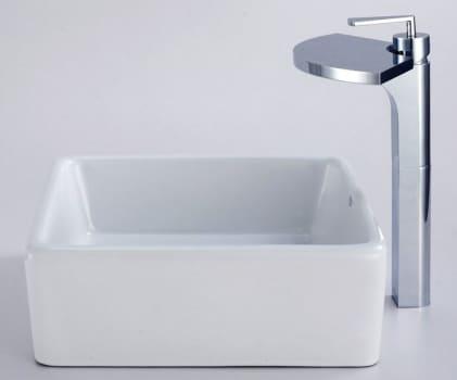 Kraus Fantasia Series CKCV12014800CH - White Ceramic Sink with Fantasia Faucet