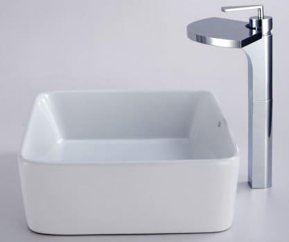 Kraus Fantasia Series CKCV12114800CH - Rectangular Ceramic Sink with Fantasia Faucet