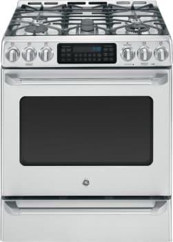 "GE Cafe Series C2S985SETSS - 30"" GE Cafe Series Slide-In Front Control Dual-Fuel Range with Baking Drawer"