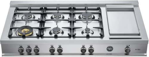 "Bertazzoni Master Series CB48M6G00XLP - 48"" Gas Rangetop with 6 Sealed Burners and Electric Griddle"