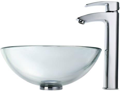 "Kraus Clear Series CGV1011412MM1810CH - 14"" Clear Glass Vessel Sink"