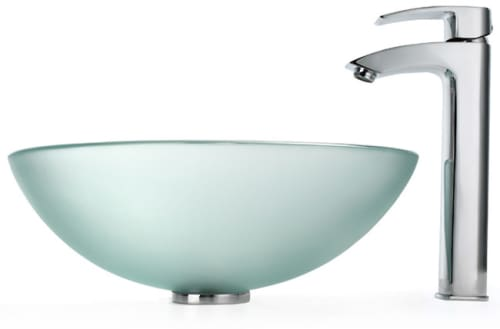 Kraus Frosted Series CGV101FR12MM1810CH - Frosted Glass Vessel Sink with Visio Faucet