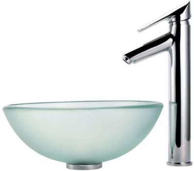 """Kraus Frosted Series CGV101FR1412MM1800CH - 14"""" Frosted Glass Vessel Sink"""