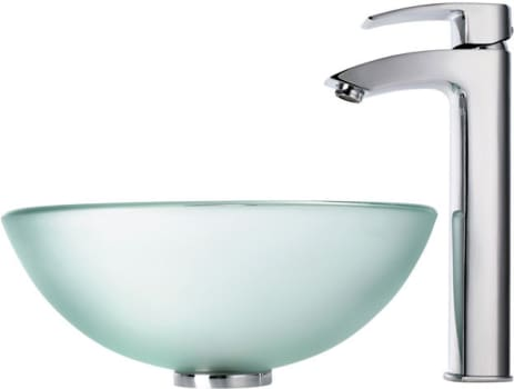 "Kraus Frosted Series CGV101FR1412MM1810CH - 14"" Frosted Glass Vessel Sink"