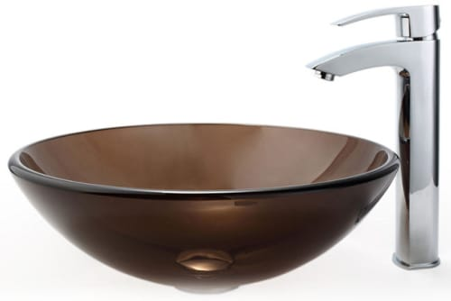 Kraus Clear Brown Series CGV10312MM1810CH - Clear Brown Glass Vessel Sink and Visio Faucet