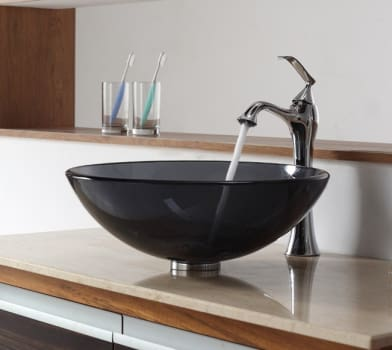 Kraus Ventus Series CGV10412MM15000CH - Clear Black Glass Sink with Chrome Ventus Faucet