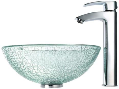 Kraus Broken Glass Series CGV5001412MM1810CH - Broken Glass Sink with Visio Faucet