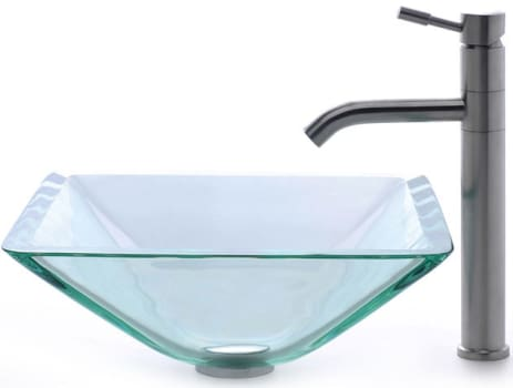 Kraus Square Clear Series CGVS90119MM2180 - Aquamarine Glass Sink with Aldo Faucet