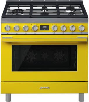 Smeg Portofino CPF36UGMYW - Front View, Yellow