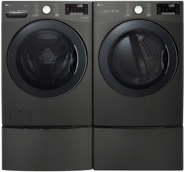 Lg Lgwadreb9002 Side By Side On Pedestals Washer Dryer Set With Front Load Washer And Electric Dryer In Black Stainless Steel