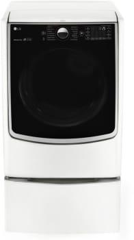 LG TurboSteam Series DLGX5001W - 7.4 cu. ft. TurboSteam Dryer in White, shown with optional pedestal.