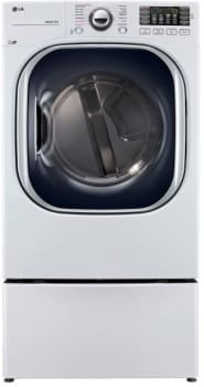 LG TurboSteam Series DLGX4371W - White Front View with Pedestal