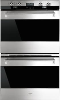 "Smeg Classic Design DOU330X1 - Smeg's ""Classic"" 30"" Electric Multifunction Double Oven in Stainless Steel"