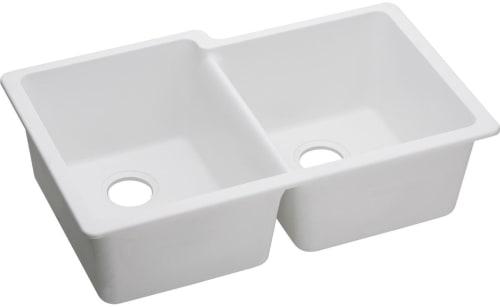 Elkay Elgu250rwh0 33 Inch Offset Double Bowl Undermount Kitchen Sink