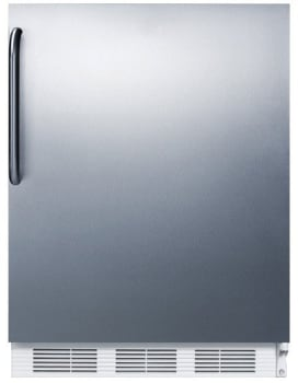 "Summit FF61CSS - 24"" Undercounter 5.5 cu. ft. All-Refrigerator, All-Stainless Steel Finish with Towel Bar Handle"