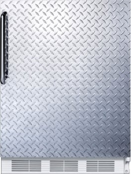 "Summit FF61DPL - 24"" Compact Refrigerator with Diamond Plated Door and Towel Bar Handle"