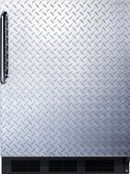 "Summit FF63BBIDPL - 24"" Undercounter Refrigerator with Diamond Plate Door and Towel Bar Handle"