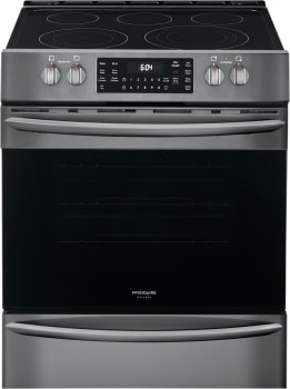 Frigidaire Fgeh3047vd 30 Inch Front Control Electric Range With 5 4 Cu Ft Capacity 5 Smoothtop Elements Air Fry True Convection Spacewise Triple Expandable Element Quick Boil Burner And Steam Clean Black Stainless Steel