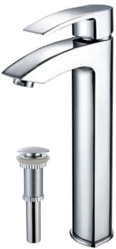 Kraus Vessel Mixer Series FVS1810PU10CH - Visio Faucet and Matching Pop-up Drain