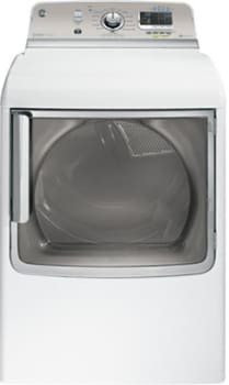 GE GTDS850GDWS - White with a Silver Backsplash