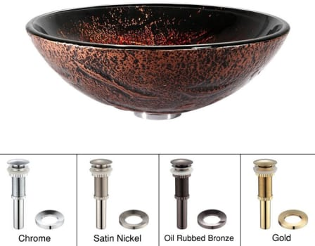 Kraus Copper Series GV710G - Lava Glass Sink with Pop-up Drain
