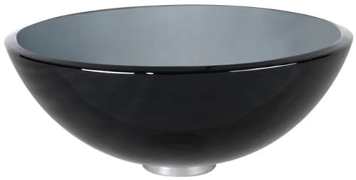 "Kraus Clear Black Series GV10414CH - 14"" Clear Black Glass Vessel Sink"