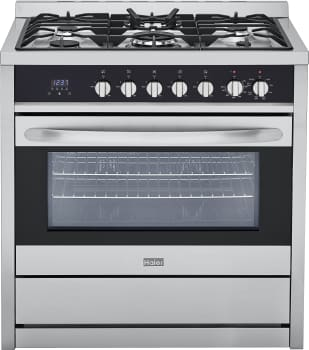 "Haier HCR6250ADS - 36"" Freestanding Dual Fuel Range with 5 Sealed Burners and 3.8 cu. ft. True European Convection Oven"