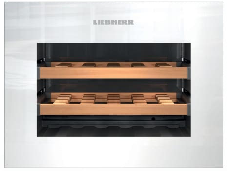 "Liebherr HWGW1803 - 24"" Fully Integrated Wine Cooler in White with 18 Bottle Capacity and Push-to-Open Drop-Down Door"