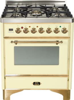 Ilve Majestic Collection UM76DMPA - Antique White with Brass Trim