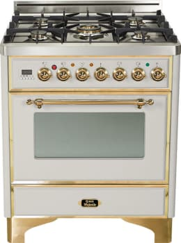 Ilve Majestic Collection UM76DMPI - Stainless Steel with Brass Trim
