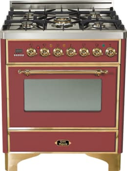 Ilve Majestic Collection UM76DMPRB - Burgundy with Brass Trim