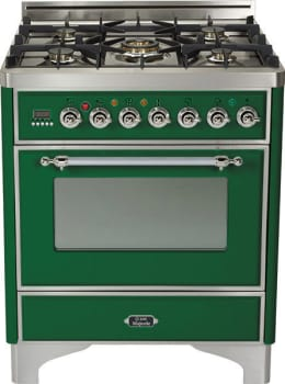 Ilve Majestic Collection UM76DMPVSX - Emerald Green, Chrome Trim