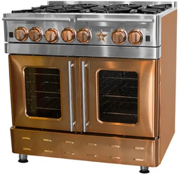 "BlueStar Precious Metals Collection RNB364CBMS - 36"" Gas Range with 12"" Charbroiler (shown in Infused Copper with 6 burners)"