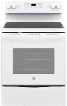 "GE JB625DKWW - 30"" Freestanding Electric Range in White with 4 Smoothtop Burners and 5.3 cu. ft. Oven"