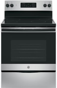 "GE JB625GKSA - 30"" Freestanding Electric Range in Silver with 4 Smoothtop Burners and 5.3 cu. ft. Oven"
