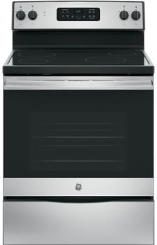 "GE JB625RKSS - 30"" Freestanding Electric Range in Stainless Steel with 4 Smoothtop Burners and 5.3 cu. ft. Oven"
